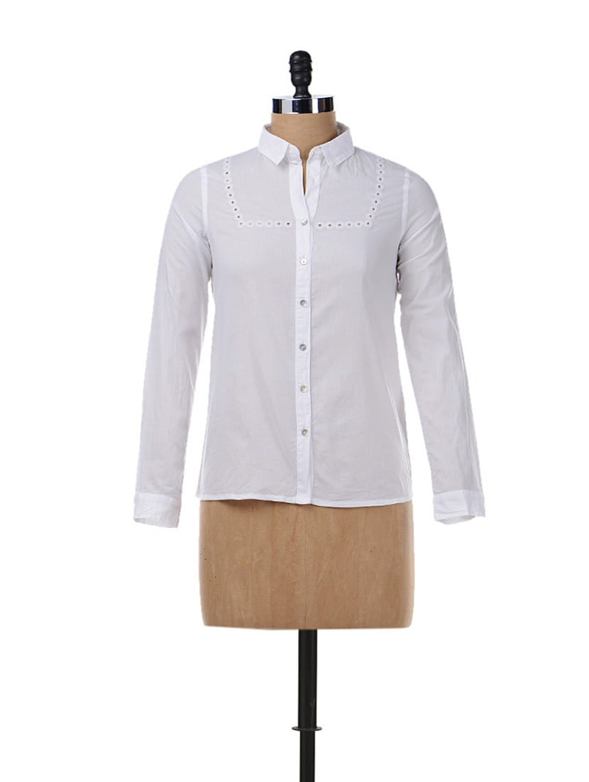 Cotton White Shirt With Eyelet Lace Work - Chemistry