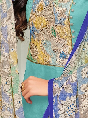 Sky blue embroidered unstitched churidaar suit - 15142414 - Standard Image - 2