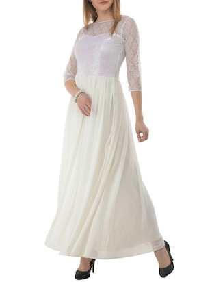 white sequenced  georgette gown - 15145951 - Standard Image - 2