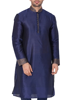 blue silk blend long kurta - 15159453 - Standard Image - 2