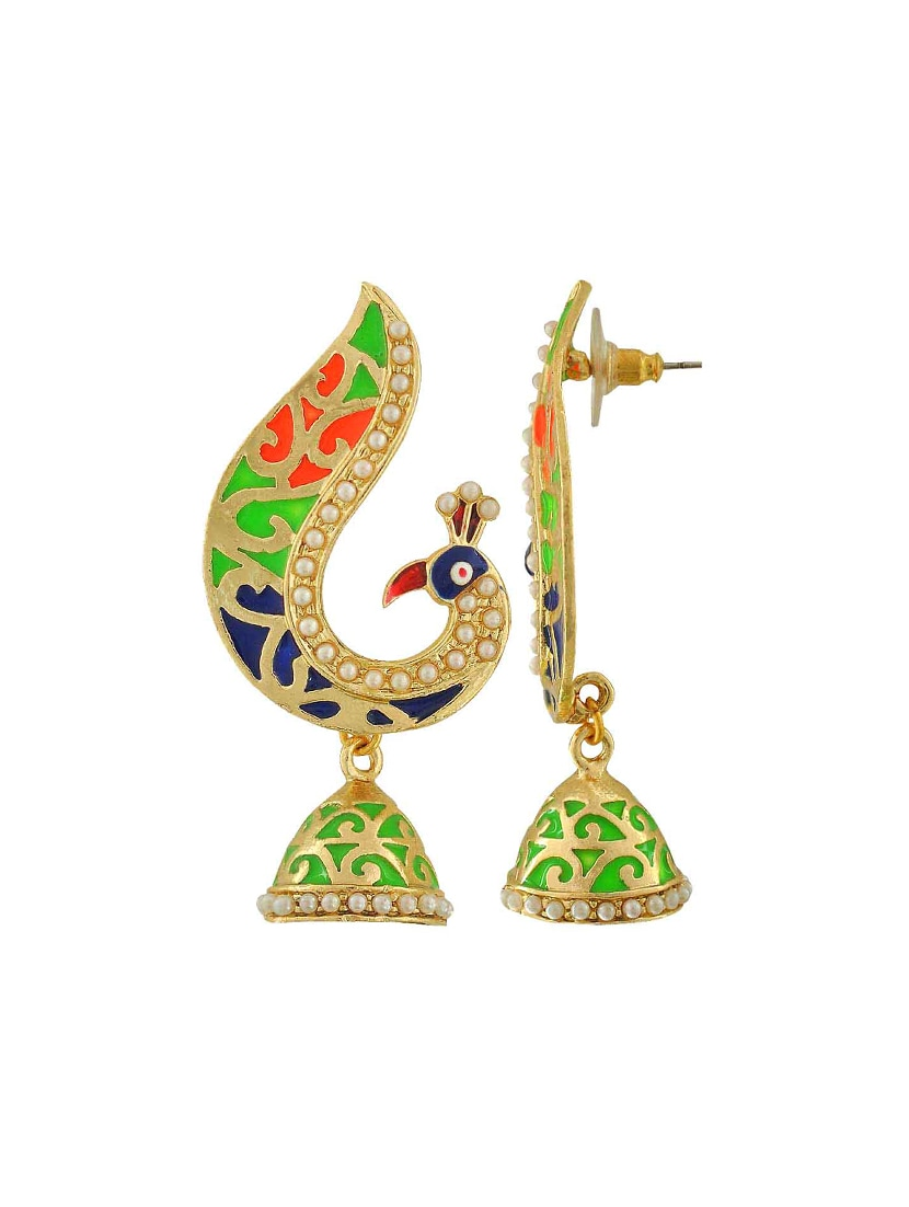 Buy Multi Colored Gold Tone Meenakari Earrings by Maayra
