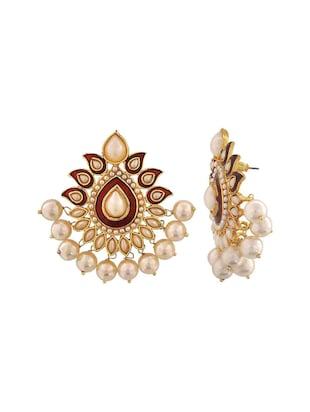 Red Gold Tone Pearl Inspired Earrings - 15166986 - Standard Image - 2