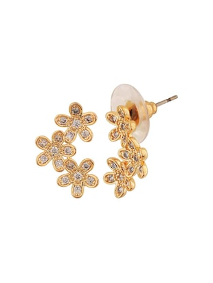 gold metal studs earring - 15167091 - Standard Image - 2