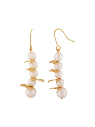 White Gold Tone Pearl Inspired Earrings - 15167106 - Standard Image - 2