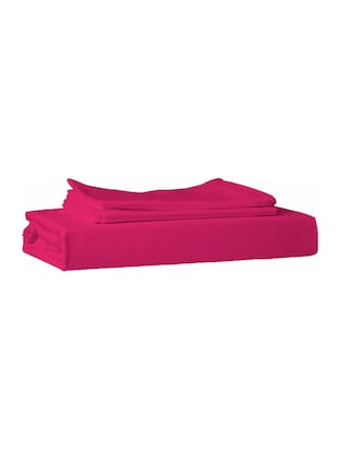210 TC 100% Cotton Percale Solid, Hot Pink Color, Pair Of Regular Size Pillow Covers - 15170219 - Standard Image - 2