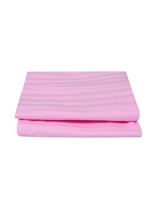 300 TC 100% Cotton Sateen Self Striped, Light Pink Color, Pair Of Regular Size Pillow Covers - 15170280 - Standard Image - 2