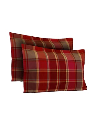 300 TC 100% Cotton Twill, Yarn Dyed Checks Design, Red Color, Pair Of Regular Size Pillow Covers - 15170407 - Standard Image - 2