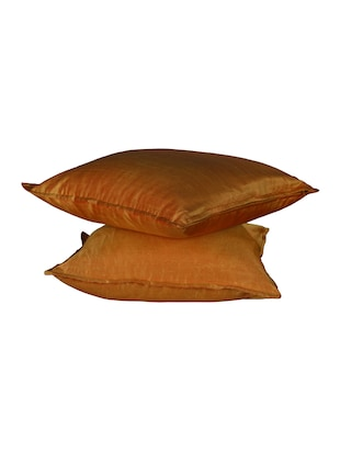 Set Of 2 16x16 Inches Solid Dupion Poly Silk Cushion Covers - 15170550 - Standard Image - 2