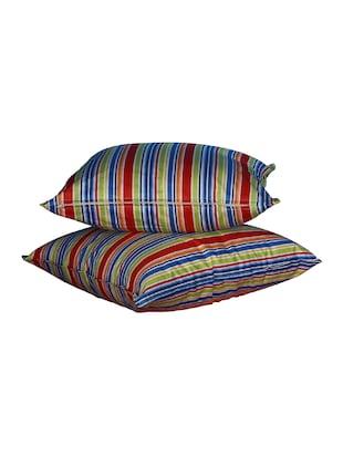 Set Of 2 16x16 Inches Multi-color Stripes Poly Cotton Cushion Covers - 15170551 - Standard Image - 2