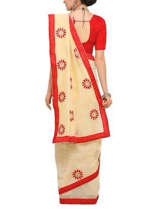 beige cotton blend embroidered saree with blouse - 15171096 - Standard Image - 2
