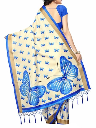 beige silk blend printed saree with blouse - 15172176 - Standard Image - 2