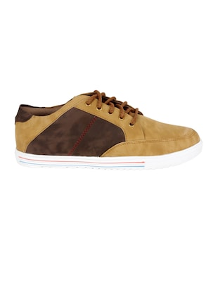 beige leatherette lace up sneaker - 15173369 - Standard Image - 2