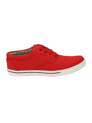 red Canvas lace up sneaker - 15173372 - Standard Image - 2