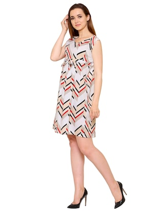 white crepe chevron a-line dress - 15175735 - Standard Image - 2
