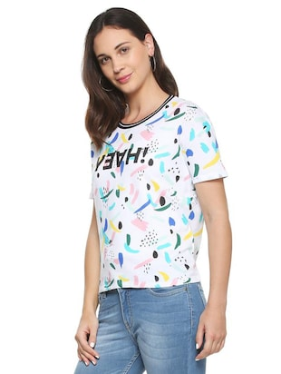 white printed cotton tee - 15175918 - Standard Image - 2