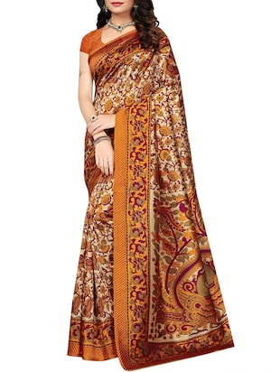 set of 2 multicolor silk blend printed saree combo with blouse - 15176527 - Standard Image - 2