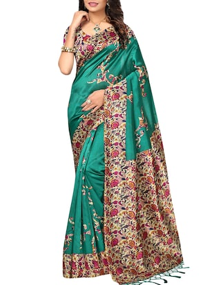 set of 2 multicolor silk blend printed saree combo with blouse - 15176542 - Standard Image - 5