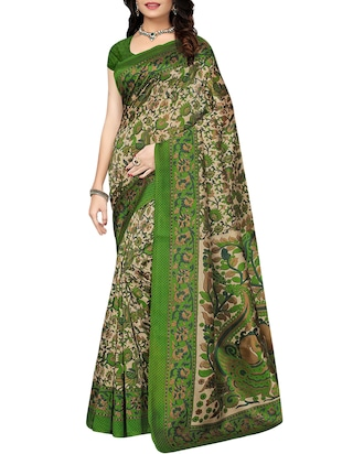 set of 2 multicolor silk blend printed saree combo with blouse - 15176545 - Standard Image - 2