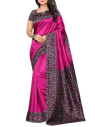 set of 2 multicolor silk blend printed saree combo with blouse - 15176555 - Standard Image - 2