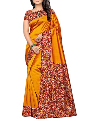 set of 2 multicolor silk blend printed saree combo with blouse - 15176567 - Standard Image - 2