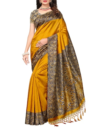 set of 2 multicolor silk blend printed saree combo with blouse - 15176572 - Standard Image - 5