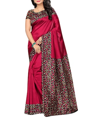 set of 2 multicolor silk blend printed saree combo with blouse - 15176576 - Standard Image - 2