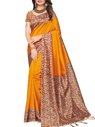 set of 2 multicolor silk blend printed saree combo with blouse - 15176579 - Standard Image - 2