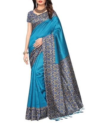 set of 2 multicolor silk blend printed saree combo with blouse - 15176579 - Standard Image - 5