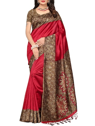 set of 2 multicolor silk blend printed saree combo with blouse - 15176580 - Standard Image - 2
