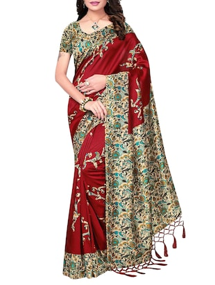 set of 2 multicolor silk blend printed saree combo with blouse - 15176592 - Standard Image - 5