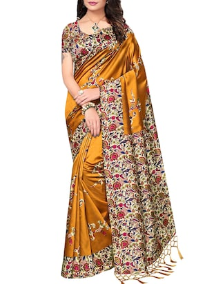 set of 2 multicolor silk blend printed saree combo with blouse - 15176602 - Standard Image - 5