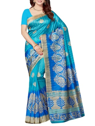 set of 2 multicolor silk blend printed saree combo with blouse - 15176605 - Standard Image - 2