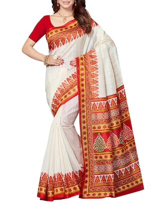 set of 2 multicolor silk blend printed saree combo with blouse - 15176617 - Standard Image - 5