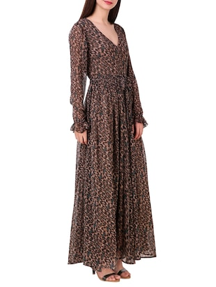 brown printed chiffon maxi dress - 15176704 - Standard Image - 2