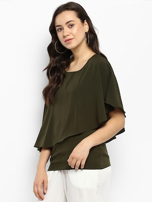 Olive green solid layered top - 15177092 - Standard Image - 2