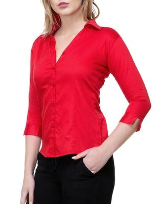 solid red satin shirt - 15177098 - Standard Image - 2