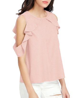 ruffle detailed cold shoulder top - 15177232 - Standard Image - 2