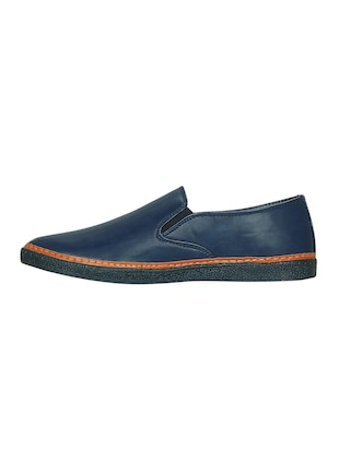 blue leatherette casual slipon - 15177334 - Standard Image - 2