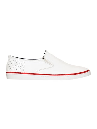 white leatherette casual slipon - 15177335 - Standard Image - 2