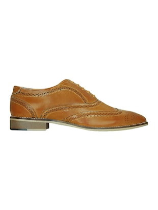 tan leatherette lace-up brouge - 15177348 - Standard Image - 2