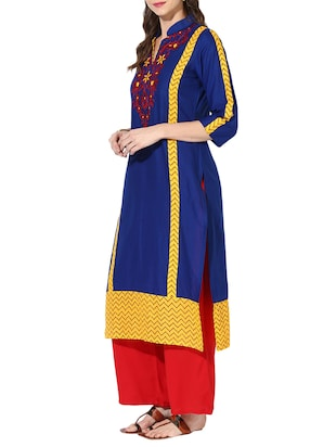 blue cotton straight kurta - 15177988 - Standard Image - 2