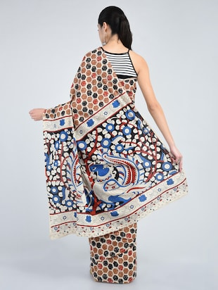 brown cotton printed saree with blouse - 15178163 - Standard Image - 2