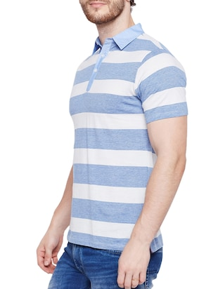 light blue cotton polo t-shirt - 15178455 - Standard Image - 2