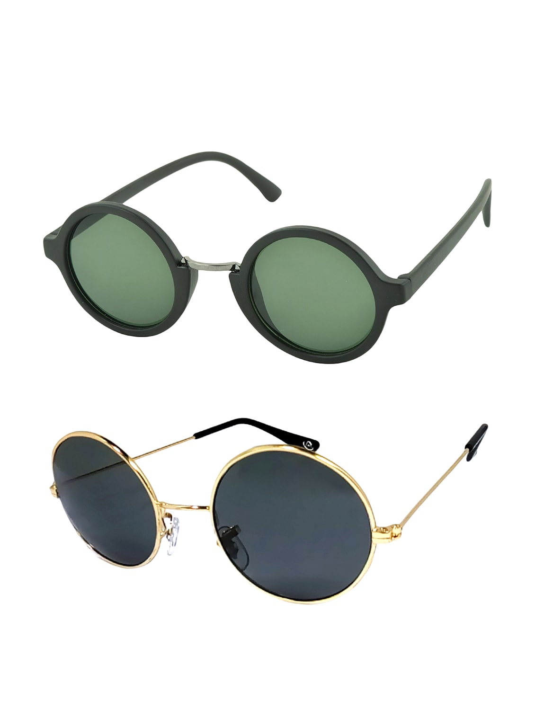 a505014e45 ... Aventus Stylish Sunglasses Combo-Green Round Sunglasses   Black Metal  Round Sunglasses for Men Women