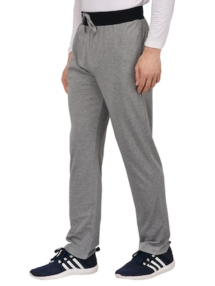grey cotton full length track pant - 15180220 - Standard Image - 2