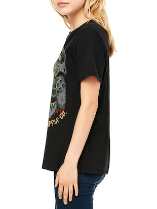 black cotton graphic straight tee - 15180729 - Standard Image - 2