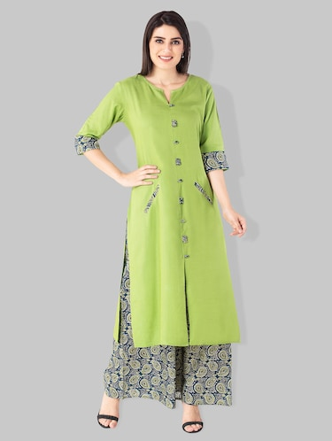 Double pocket solid kurta with printed palazzo - 15182399 - Standard Image - 1