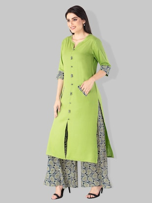 Double pocket solid kurta with printed palazzo - 15182399 - Standard Image - 2