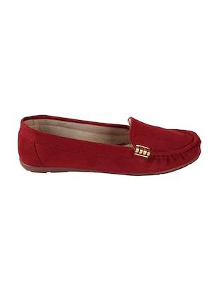 maroon faux leather slip on loafers - 15183849 - Standard Image - 2