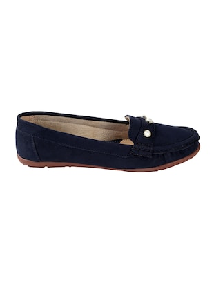 blue faux leather slip on loafers - 15183850 - Standard Image - 2
